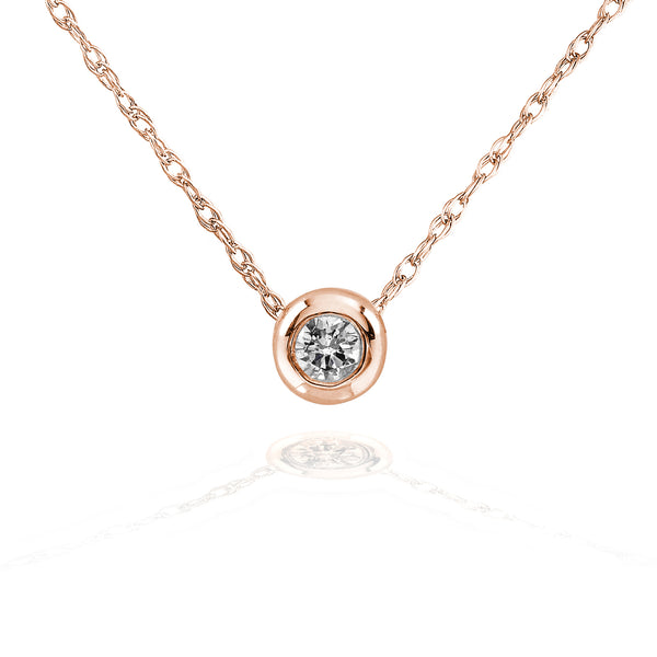 "Kobelli Tiny Diamond Solitaire Bezel Necklace in 14k Gold (18"" Chain)"