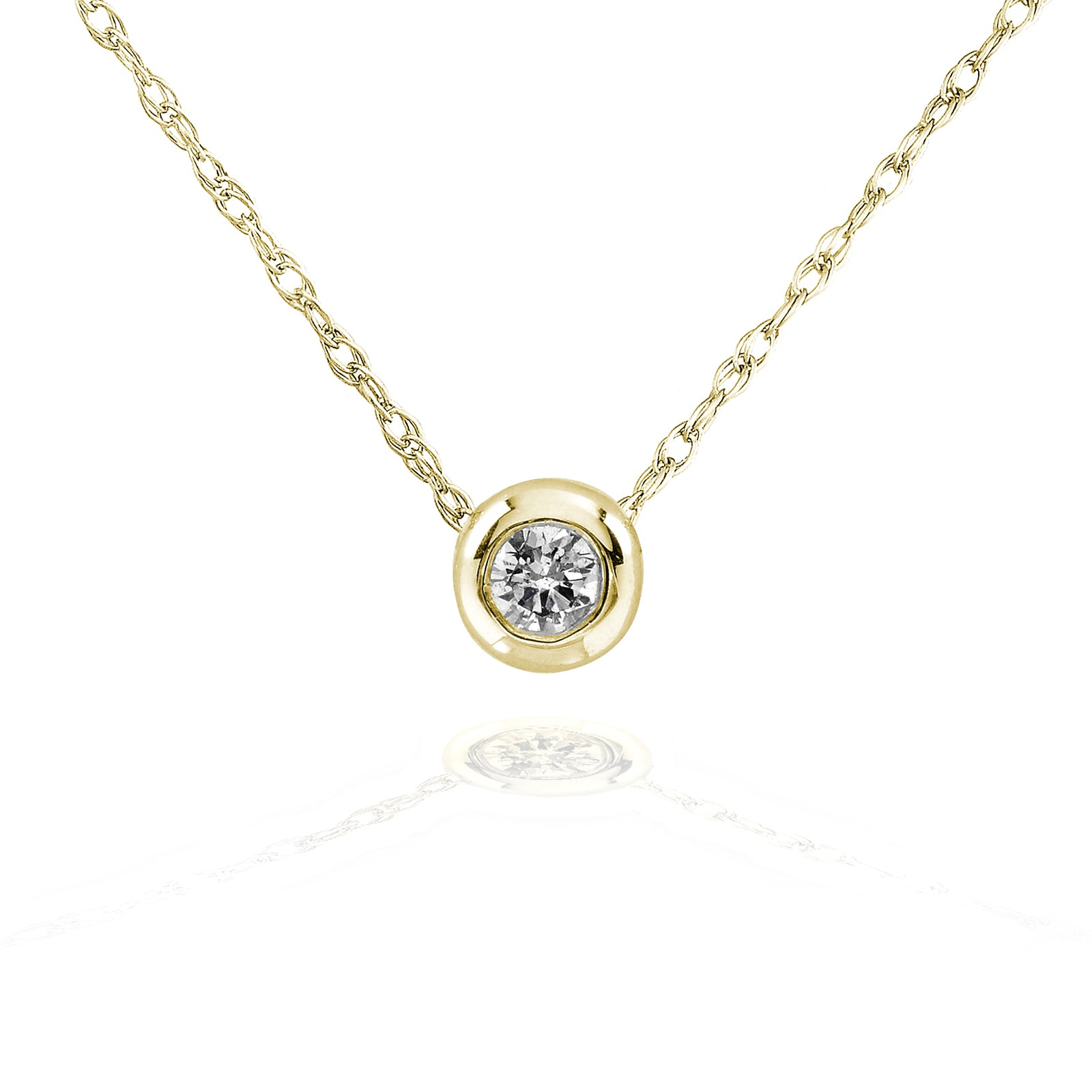 Coupons Tiny Diamond Solitaire Bezel Necklace in 14k Gold (18 Chain) - yellow-gold
