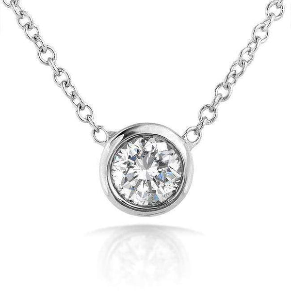 "Kobelli Diamond Solitaire 1/6 Carat Bezel Necklace in 14K Gold (16"" Chain) 6698DM_WG"