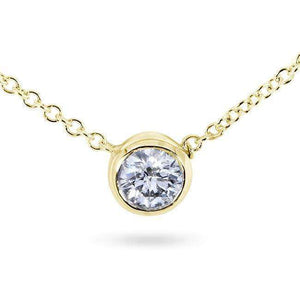 Diamond Solitaire 1/4 Carat Bezel Necklace in 14K Gold