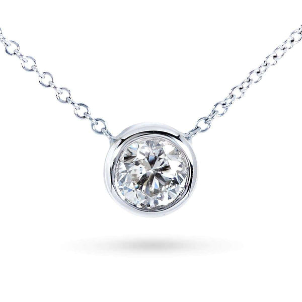 Kobelli Diamond Bezel Solitaire Pendant 3/4 Carat in 14K White Gold 6698-75