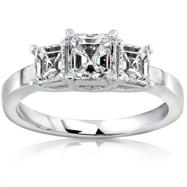 Kobelli Diamond Three-Stone Engagement Ring 1 carat (ctw) in 14K White Gold