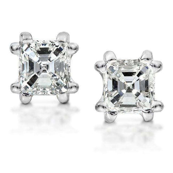 Kobelli Diamond Stud Earrings 1 1/4 Carat Asscher in 14K White Gold 6765-125