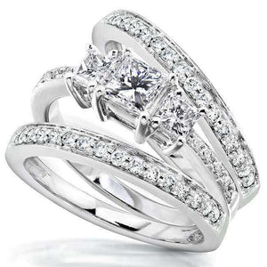 Princess Diamond Three Stone Bridal Set 1 1/3 Carat (ctw) in 14k White Gold (3 Piece Set)