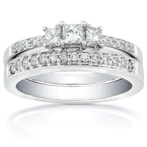 Diamond Wedding Set 2/5 carat (ctw) in 14K White Gold
