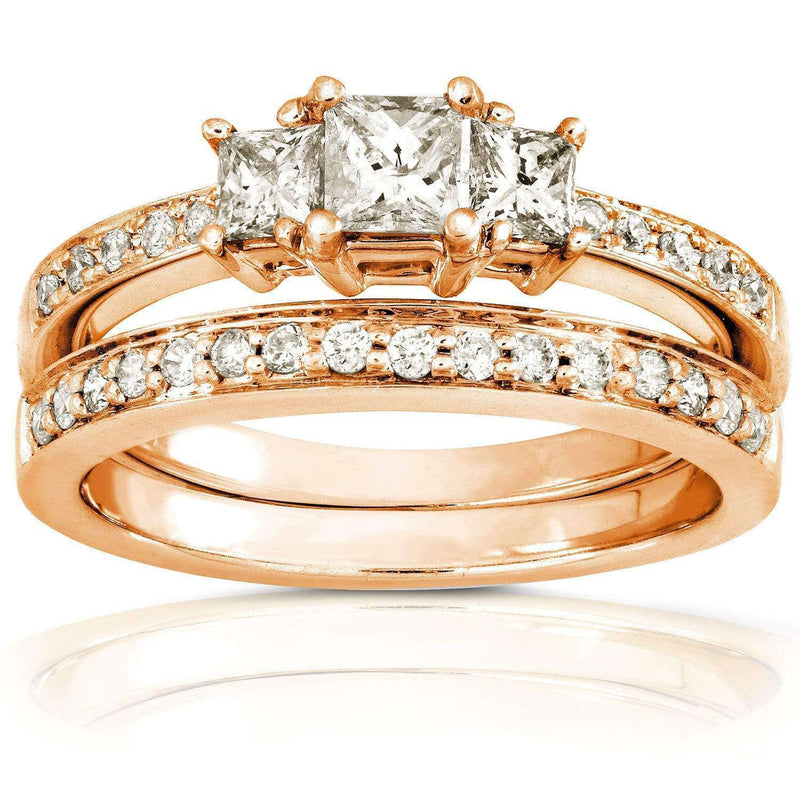 Kobelli Diamond Wedding Set 5/8 carat (ctw) in 14K Gold 6769-50PVDB/4.5RG