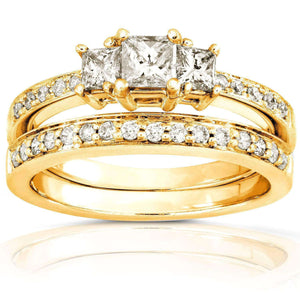 Kobelli Diamond Wedding Set 5/8 carat (ctw) in 14K Gold 6769-50PVDB/4.5YG