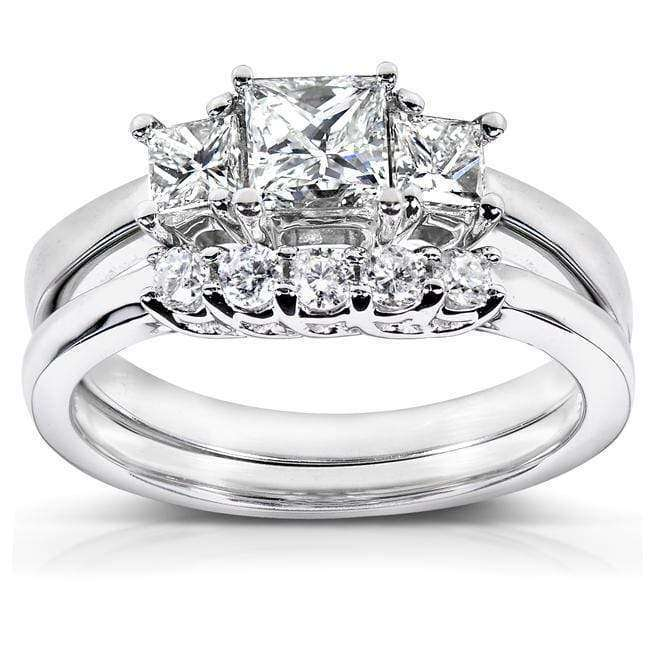 Kobelli Diamond Wedding Ring Set 7/8 carat (ctw) in 14k White Gold