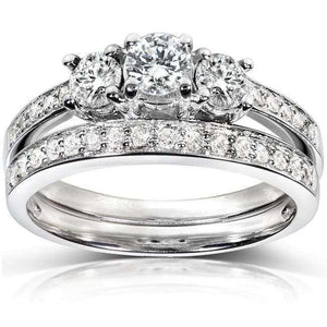 Kobelli Three-Stone Diamond Engagement Ring and Wedding Band Set 3/4 carat (ctw) in 14k White Gold