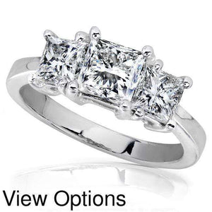 Diamond Three-Stone Engagement Ring 2 carats (ctw) in 14K White Gold (Certified)