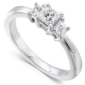 Kobelli Princess Diamond Three-Stone Engagement Ring 1/2 Carat (ctw) in 14K White Gold