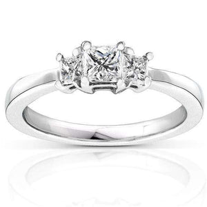 Princess Diamond Three-Stone Engagement Ring 1/2 Carat (ctw) in 14K White Gold