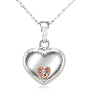 Kobelli Floating Heart Pendant 18k Two-Tone Gold with Small Diamond Accent 6777OJ