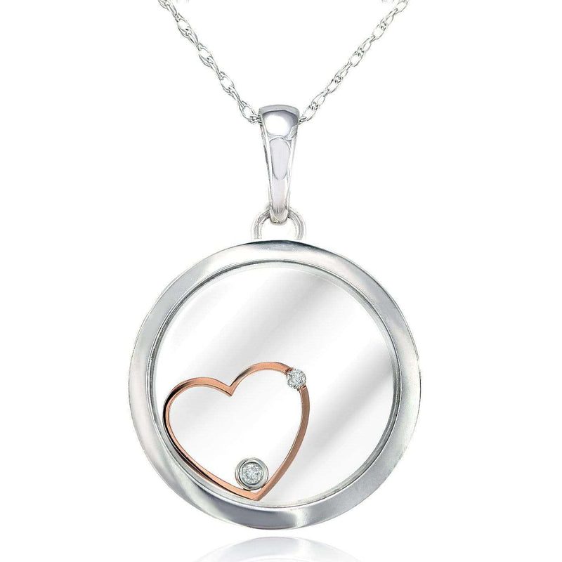 "Kobelli Flat Round Floating Heart Pendant 18k Two-Tone Gold with Small Diamond Accents & 14k White Gold Light Chain (18"") 6778OJ"