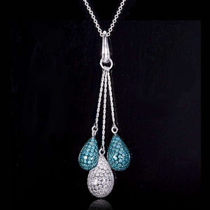 Round-cut White and Treated Blue Diamond Drop Lariat Pendant 2 1/2 Carat (ctw) in 18k White Gold (14k White Gold Chain)