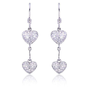 Round-cut Diamond Dangle Heart Earrings 4/5 carat (ctw) in 18K White Gold