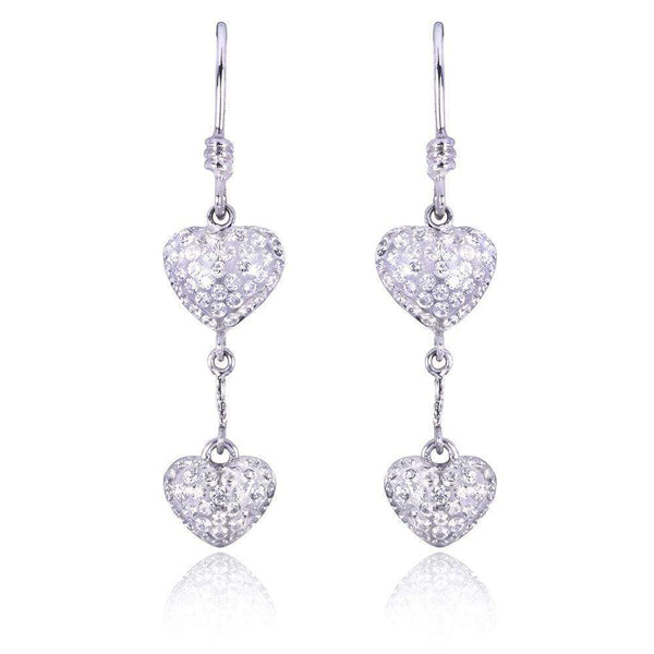 Kobelli Round-cut Diamond Dangle Heart Earrings 4/5 carat (ctw) in 18K White Gold 71063X