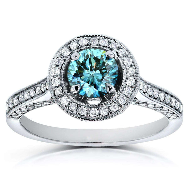 Kobelli Vintage Fancy Blue Diamond Diamond Halo Engagement Ring 1 CTW in 14k White Gold