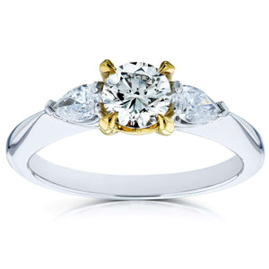 Light Fancy Yellow Mixed Diamond 3 Stone Pinched Shank Engagement Ring 7/8ct TDW 14k Gold Ring