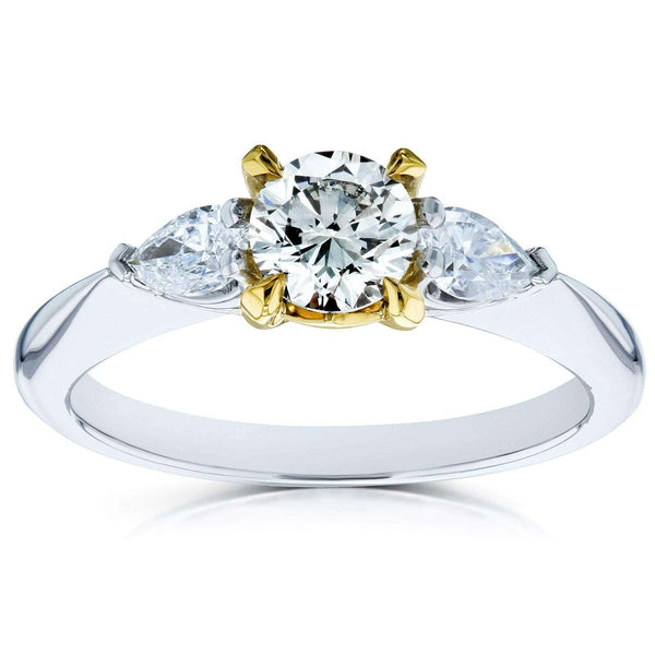 Kobelli Light Fancy Yellow Mixed Diamond 3 Stone Pinched Shank Engagement Ring 7/8ct TDW 14k Gold Ring