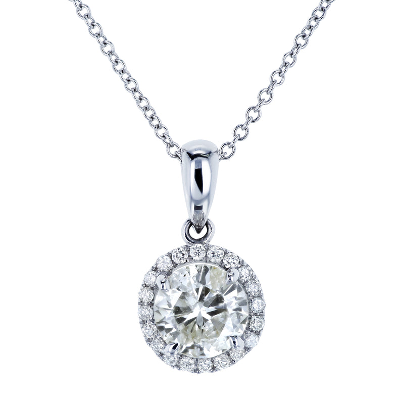 18k White Gold 1ct TDW Halo Diamond Pendant and 14k White Gold Cable Chain