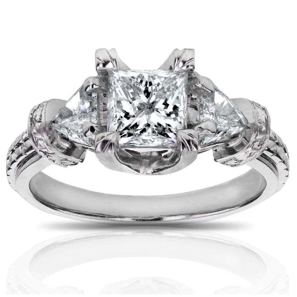 Kobelli Certified Princess Cut 3-Stone Diamond Engagement Ring 1 4/5 CTW in 14k White Gold
