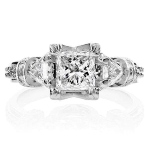 Certified Princess Cut 3-Stone Diamond Engagement Ring 1 3/4 CTW in 14k White Gold