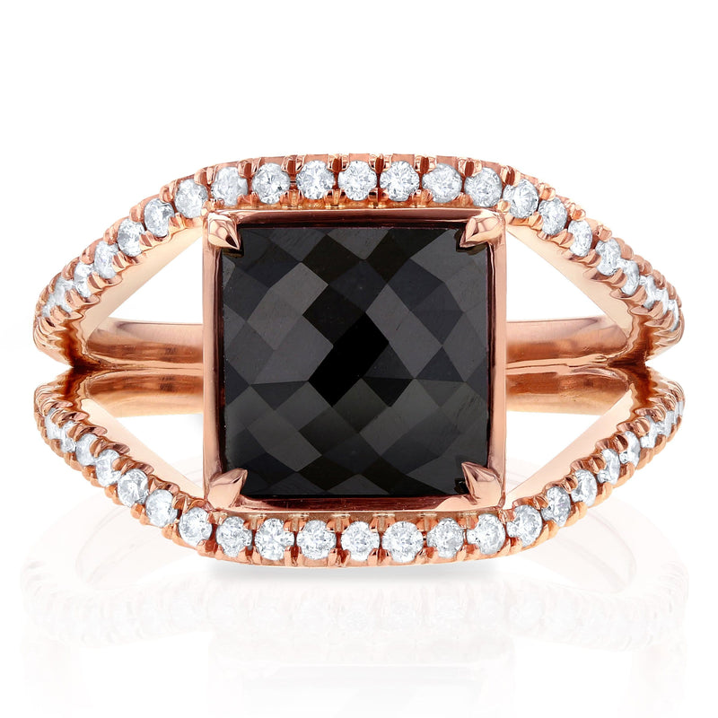 Kobelli Princess Cut Black Diamond  Ring 4 CTW in 14k Rose Gold