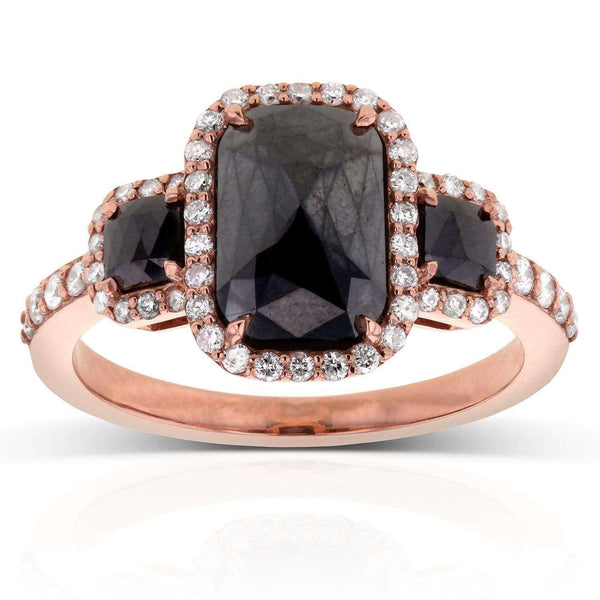 Kobelli Cushion Cut 3 Stone Black Diamond Ring 3 1/2CTW in 14k Rose Gold