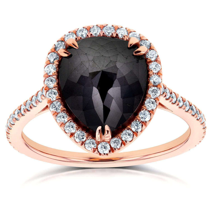Kobelli Rose-cut Black Diamond Pear Shaped Halo Ring 4 3/4 CTW in 14k Rose Gold