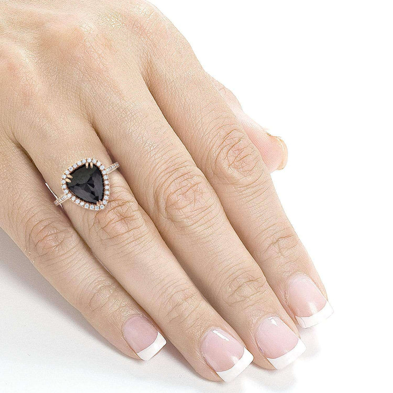 Kobelli Rose-cut Black Diamond Pear Shaped Halo Ring 3 2/5 CTW in 14k Rose Gold