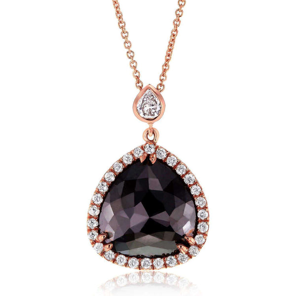 Kobelli Pear Shaped Rose-cut Black & White Diamond Halo Style Pendant 5 CTW in 14k Rose Gold 71147X