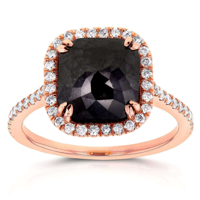 Kobelli Cushion Cut Black Diamond Halo Ring 3 7/8 CTW in 14k Rose Gold 71148X/8.5R