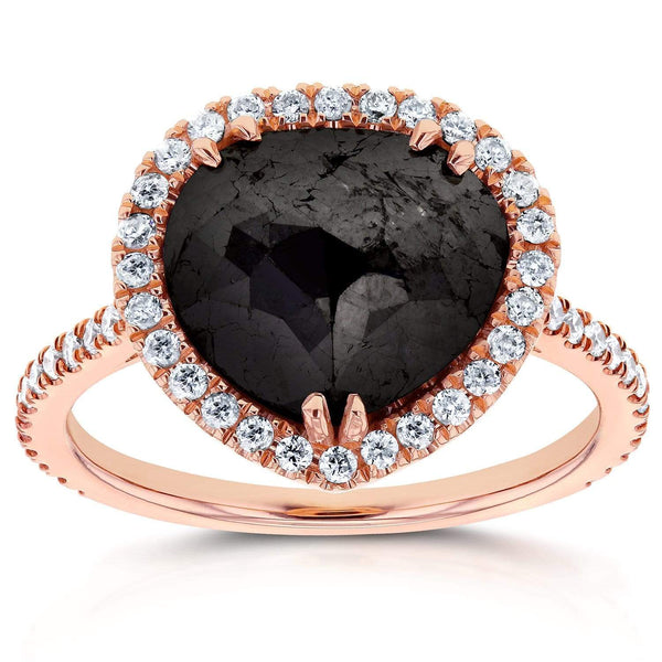 Kobelli Rose-cut Black Diamond Halo Ring 3 3/8 CTW in 14k Rose Gold