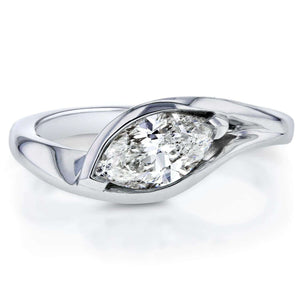 Marquise-cut Diamond Ring 1.02 CTW in 14k White Gold (Certified)