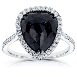 Kobelli Rose-cut Black Diamond Pear Shaped Halo Ring 5 5/8 CTW in 14k White Gold
