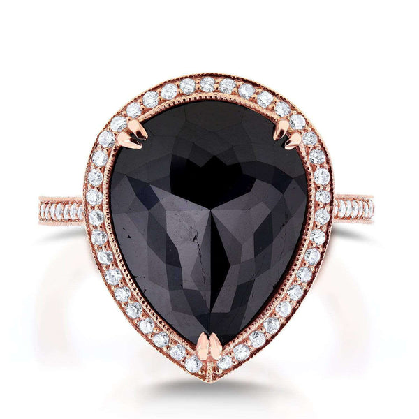 Kobelli Pear Shape Black and White Diamond Halo Ring 8 1/2 CTW in 14k Rose Gold