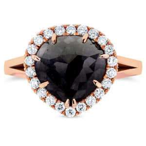 Kobelli Rose-cut Black Diamond Halo Style Engagement Ring 2 3/4 CTW in 14k Rose Gold