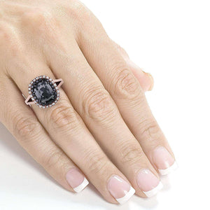 Cushion Black and White Diamond Double Halo Ring 3 3/4 CTW in 14k Rose Gold