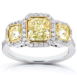 Fancy Yellow Diamond Three-Stone Halo Radiant Engagement Ring 2 2/5 CTW in 14k Two-Tone Gold (Certified)