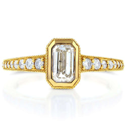 Kobelli Antique Emerald Diamond Engagement Ring 1 1/4 CTW in 14k Yellow Gold