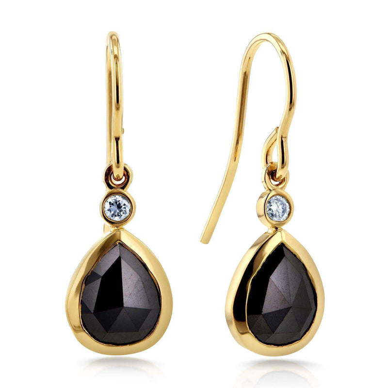 Kobelli Pear Shape Black Diamond Fish Hook Earrings 2 1/2 CTW in 14k Yellow Gold 71188X