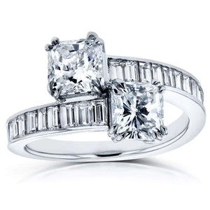 Two Stone Radiant and Baguette Bypass Diamond Ring 3 CTW in 18k White Gold (Certified)