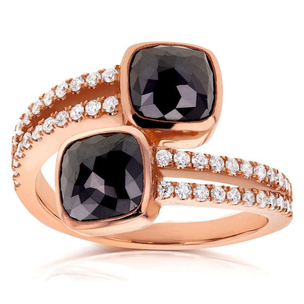 Kobelli Black and White Diamond Wrap Over Two Stone Ring 2 4/5 CTW in 18K Rose Gold 71225X_6.0