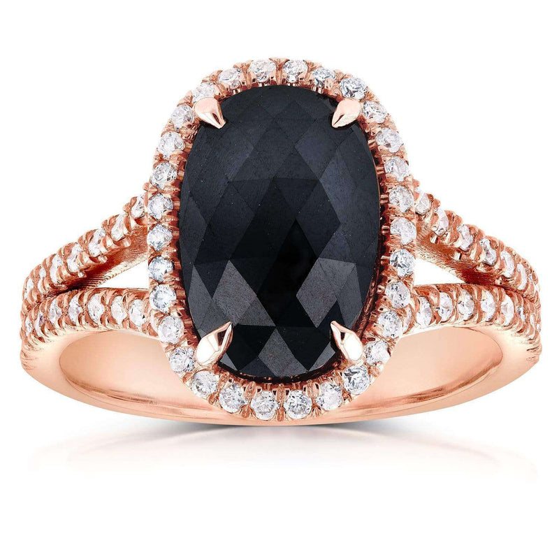 Kobelli Black and White Diamond Split Shank Oval Halo Ring 3 3/5 CTW in 14k Rose Gold 71241X_7.0