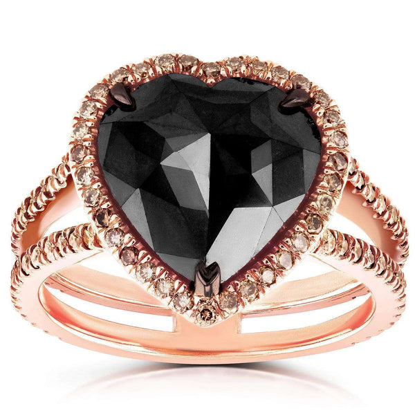 Kobelli Rose-Cut Heart Shaped Black Diamond Halo Ring 5 CTW in 18k Rose Gold 71249X_7.0