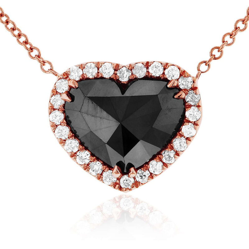 "Rose-Cut Heart Shaped Black Diamond Halo Necklace 1 4/5 CTW in 18k Rose Gold (15"" to 16"")"
