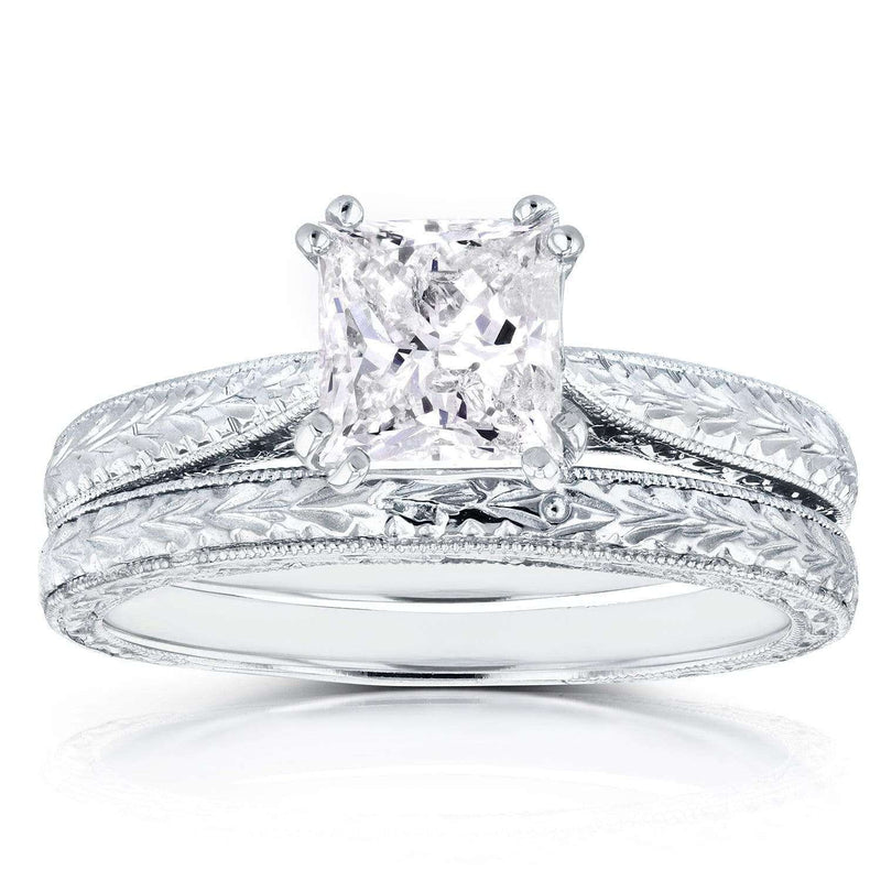 Kobelli Princess Diamond Antique Cathedral Bridal Set 1 1/2 CTW in 14K White Gold (Certified)