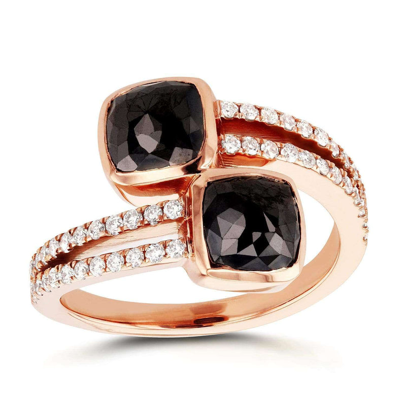 Kobelli Two-Stone Black and White Diamond Crossover Fashion Ring 3 1/5 CTW in 18K Rose Gold