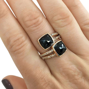 2-Stone Black & Champagne Diamond Split Shank Bypass Fashion Ring 5 3/5ct TDW in 18k Rose Gold